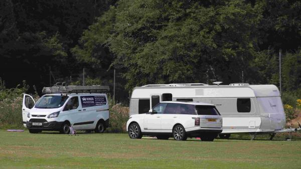 Travellers camped at Slades Farm