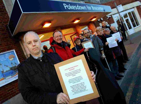 APPEAL:  Campaigners at Pokesdown station