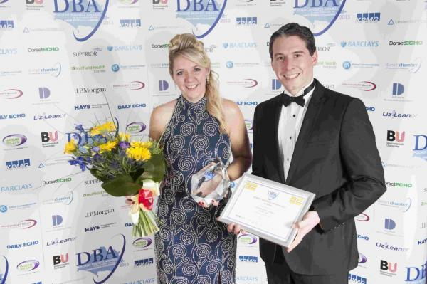 Maria Tidy of Lewis-Manning Hospice wins the Hays Employee of the Year Award, presented by James Wicher of Hays