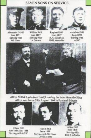 A page in the Bournemouth Graphic featuring the seven Still brothers who were all serving in 1915, aged at the time from 17 to 27