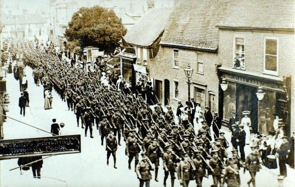 Soldiers marching through Poole High Street in the First World War
