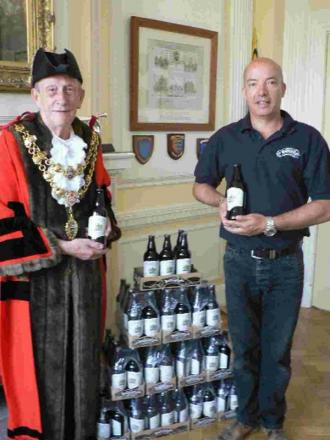 Mayor Peter Adams with Hall and Woodhouses's Andy Wing