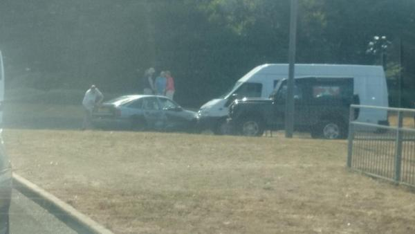 Crash blocks Cooper Dean roundabout. Picture from Dan Beer