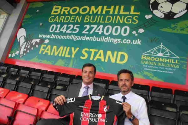 AFC Bournemouth commercial director Rob Mitchell and Martin Penny, of Broomhill Garden Buildings