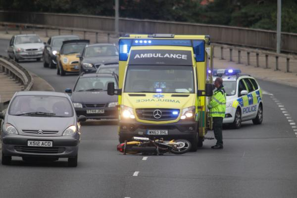 One lane closed on the Wessex Way after accident involving motorbike