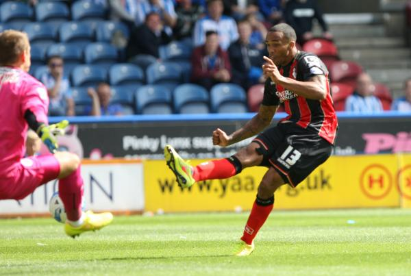 STAR MAN: Debutant Callum Wilson scores Cherries' second goal against Huddersfield