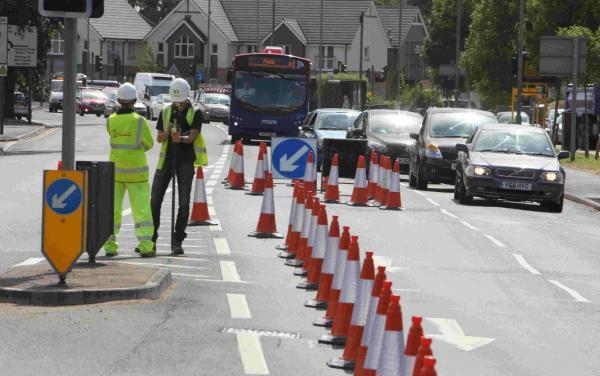 Roadworks are being carried out along Castle Lane West
