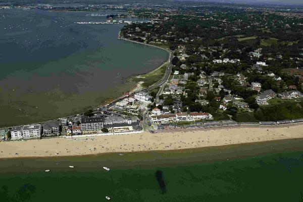AERIAL VIEW: A shot of part of Sandbanks and Canford Cliffs