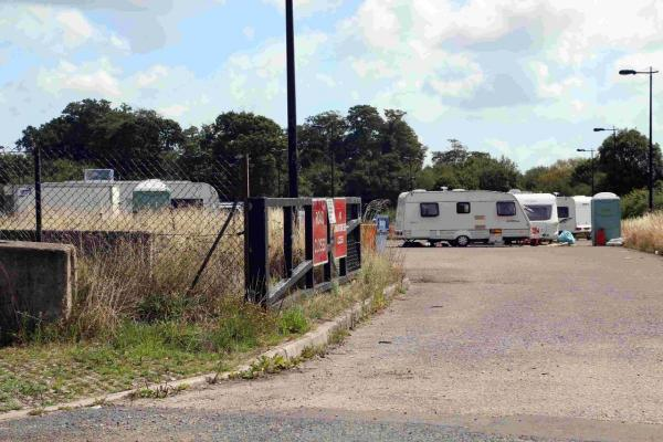 STAYING PUT: Traveller site at Creekmoor park-and-ride