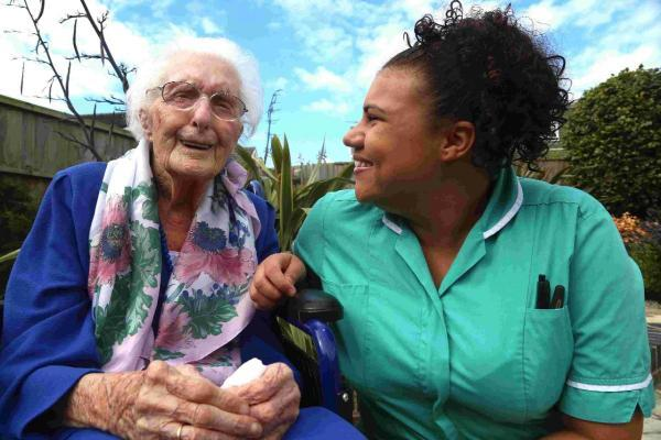 Dorothy Humphreys celebrates her 106th birthday in Christchurch. Pictured with Care Assistant Joy Thompson