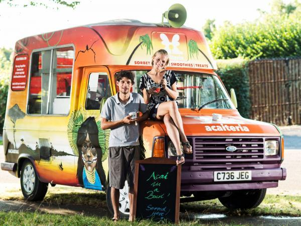 HEALTHY: Lucas Dalleprane and Jadwiga Cwynar with the mobile sorbet van belonging to their new business Acaiteria