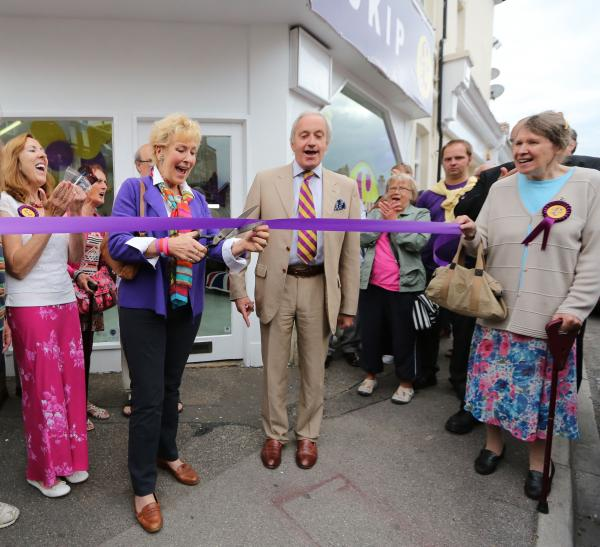 Neil and Christine Hamilton open the new Ukip office in Pokesdown