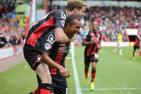 CELEBRATION: Goal hero Junior Stanislas is congratulated by Eunan O'Kane