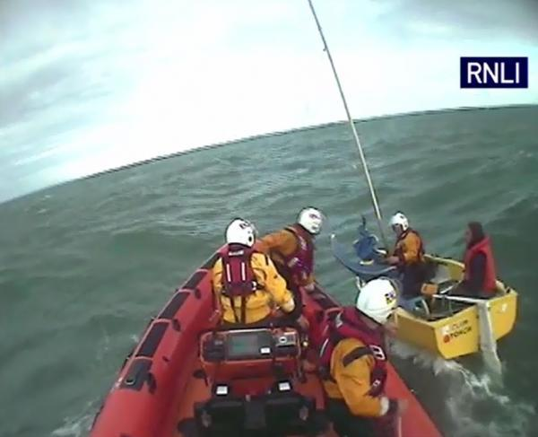 Man 'attempting to sail to USA' rescued by lifeboat. Pic: RNLI