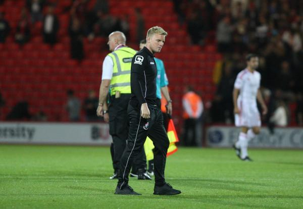 AGONY: Eddie Howe after the final whistle tonight