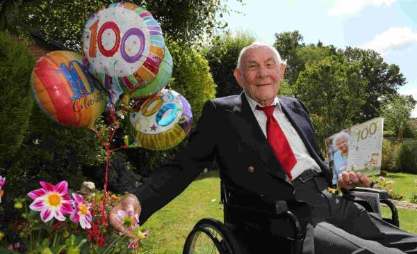 HAPPY DAYS: Roy Fripp celebrating his 100th birthday in his Verwood garden