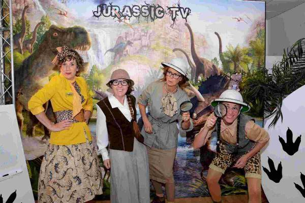 HISTORICAL FUN: One shopping unit was transformed into a Jurassic TV studio