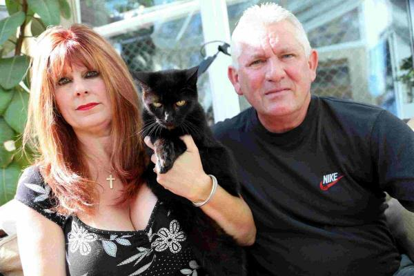 SHAKEN: Rebecca and Andrew Loyd with their cat Purdy