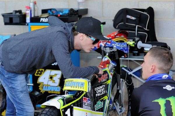 RETURN: Darcy Ward in the pits at Wimborne Road this evening