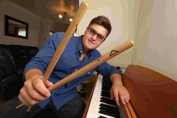 STICKS: Drummer Luke Selby, 20, has made it into the semi-finals of an international songwriting competition
