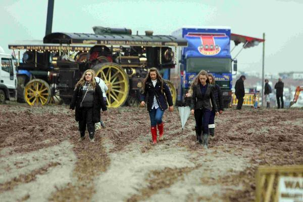 Muddy paths around the Great Dorset Steam Fair 2014