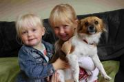 HELLO: Dolly the puppy reunited with  Ruby and Maisie King, grandchildren of owner Amanda King