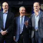Bournemouth Echo: Ukip leader Nigel Farage, centre, and new Ukip MP Douglas Carswell, right, join candidate Mark Reckless on the campaign trail for the upcoming Rochester and Strood by-election
