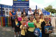 Parents and children at Ferndown First School which was affected by the school meals fiasco