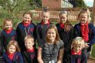 SUPPORT: Acting headteacher Sue Eden with some of her students