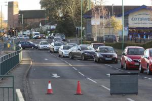 Wimborne Road closed after two car crash