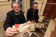 Historian John Wingham and Balmer Lawn Hotel owner Chris Wilson with the documents