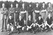 Back row, left to right, coach Stan Beck, an unknown, Dennis Frances, Barry Kerslake, Dennis Froud the goalkeeper, Sid Jenkins, Brian Rumbold and Alan Pratten. Front row, David Gledstone, George Beck, an unknown, Bill Bailey and Gerald Beck