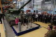 HRH the Duke of Kent, Prince Edward, visits Bovington Tank Museum to open the new Tank Factory exhibition. Museum curator David Willey gives a speech.