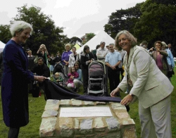CATALYST FOR REGENERATION: Her Majesty's Lord-Lieutenant of Dorset Valerie Pitt-Rivers (left) and Bournemouth mayor Anne Filer officially unveil a plaque to mark the opening of Boscombe Gardens