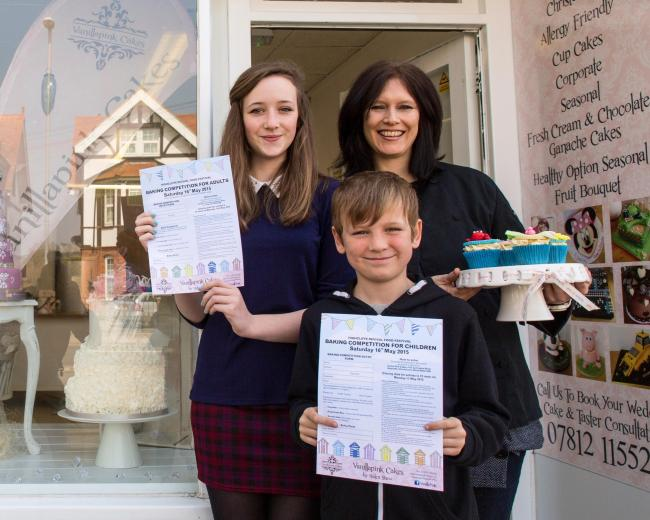 Helen Shaw of Vanilla Pink Cakes and Abigail and Samuel Clark who are promoting the children's competition. (22977619)