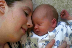 HUMILIATED': Nicola Harle with her baby son, Callum