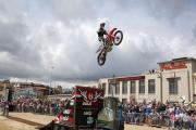 Bournemouth Wheels Festival - Stunt Motorbike action  from The FMX  Arena on the East beach