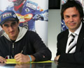NEW BOY: Chris Holder with Matt Ford yesterday