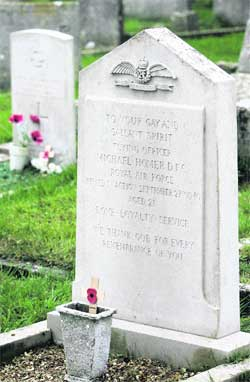 REMEMBERED: The grave of Flying Officer Michael Homer, DFC in Godlingston Cemetery, Ulwell