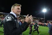 Eddie Howe celebrates at the Goldsands Stadium