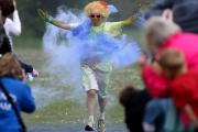 Red and yellow and pink and green. Purple and orange and blue - all the colours of the Rainbow Run 2015