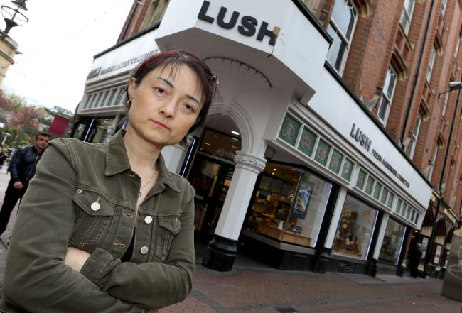 Cynthia Wang outside of Lush Cosmetics in Bournemouth after she was refused service because she was trying to buy too many products at once.