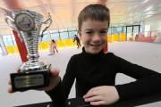 Figure skater Ben Gregory, 10, who has just won 2nd place at the Coaches Cup in Basingstoke. Ben at the ice rink at The Ark in Poole Park