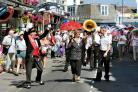Traditional brass band parade through Swanage with the Dave Brennan's Jazz Band led by Grand Marshall Malcolm Hogarth.
