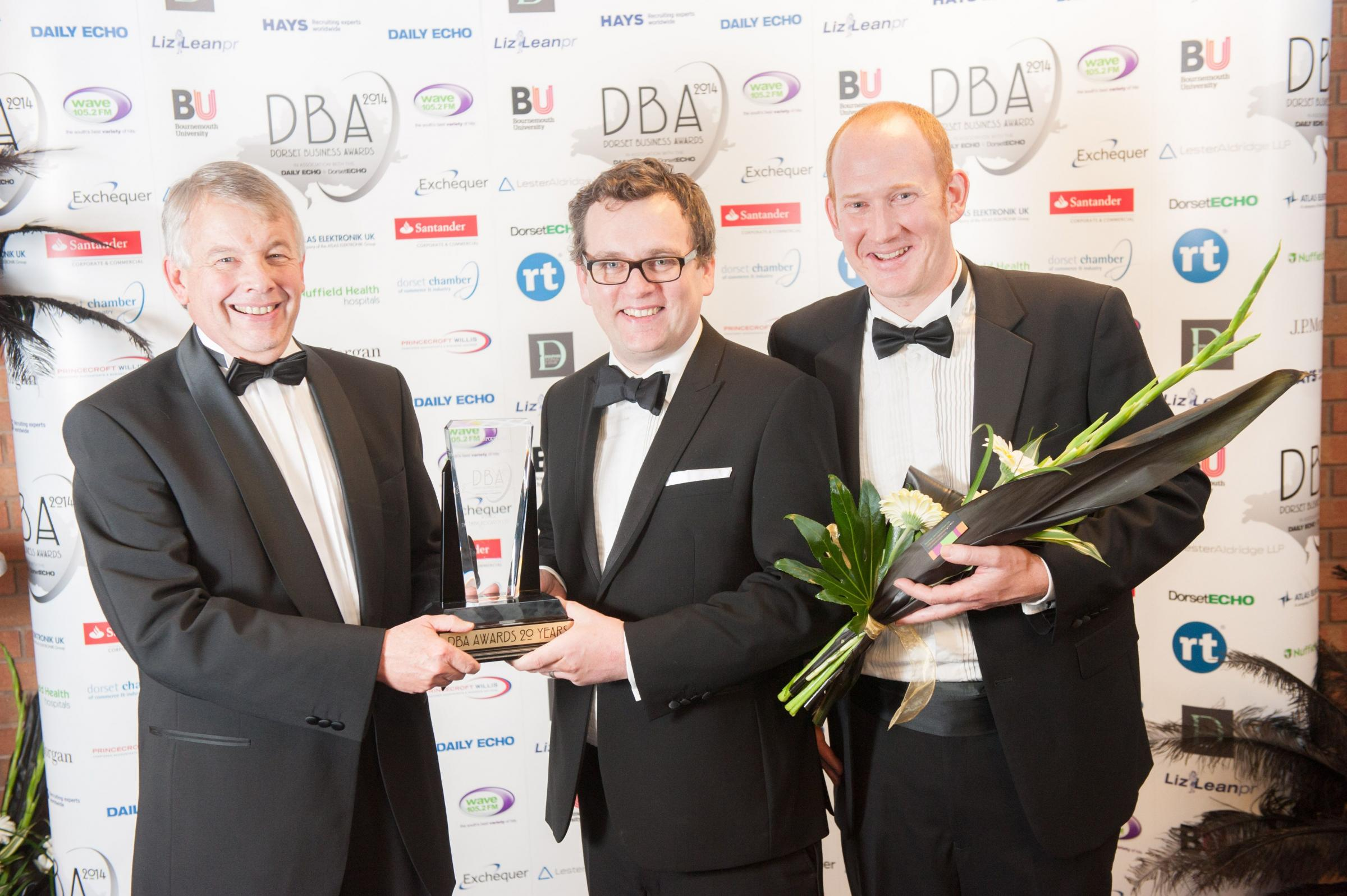 Phil Cooper of Atlas Elektronik UK with Conor Mullan and Rob Waggitt of Think Research Ltd after Atlas Elektronik won the Dorset Export Award at the 2015 Dorset Business Awards (30987903)