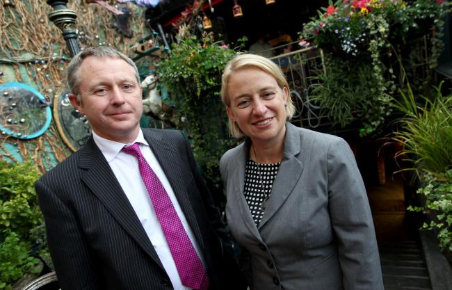 Leader of the Green Party, Natalie Bennett at Chaplins in Boscombe with Cllr. Simon Bull who is Bournemouth's first Green councillor.