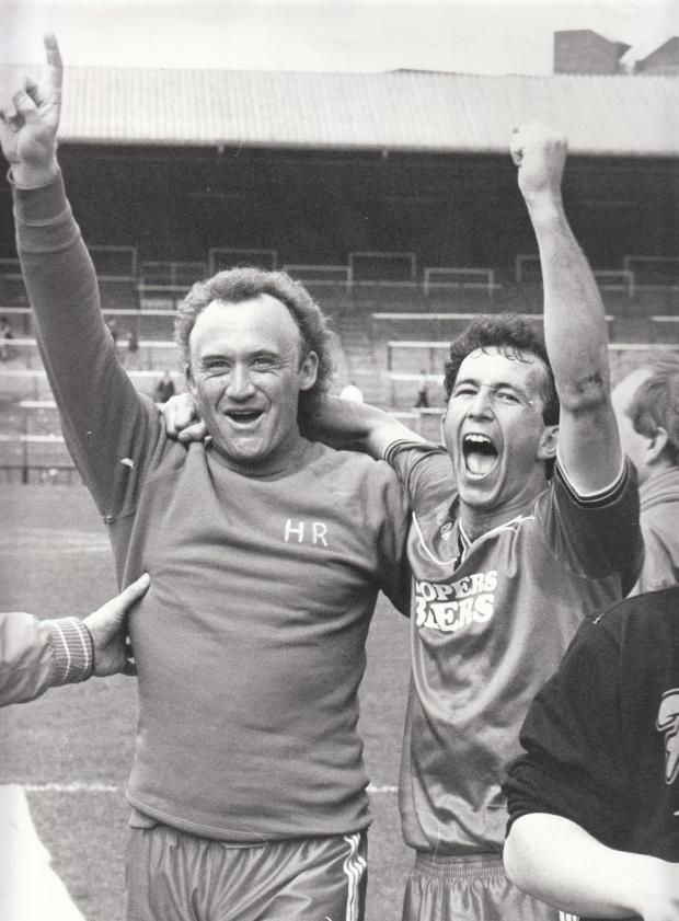 Bournemouth Echo: In May 1987 players John Williams,left, and Tony Pulis celebrated after AFC Bournemouth beat Fulham to clinch promotion to the Second Division for the first time. (36887395)