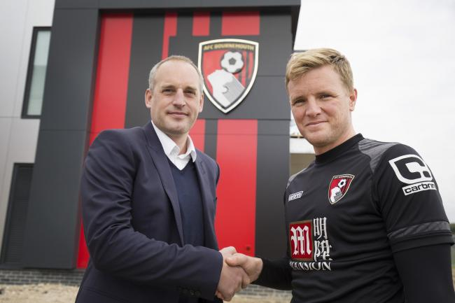 CONGRATULATIONS: Eddie Howe with chief executive Neill Blake