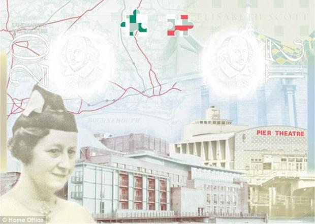 Elisabeth Scott alongside the Shakespeare Theatre in the new British passport
