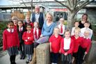 Head teacher Jo Barton with staff and pupils